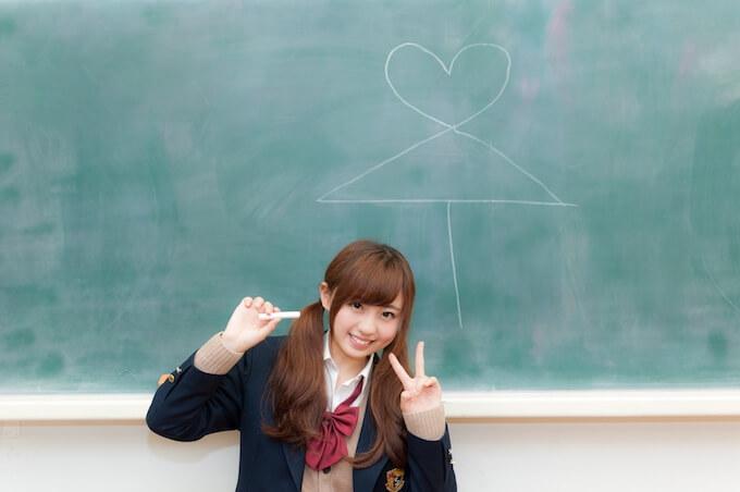 黒板に相合傘を描く女子高生